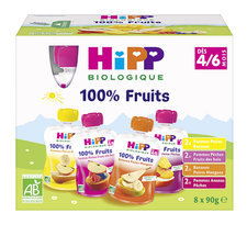 HiPP Pack de 8 Gourdes Fruits dès 4/6m