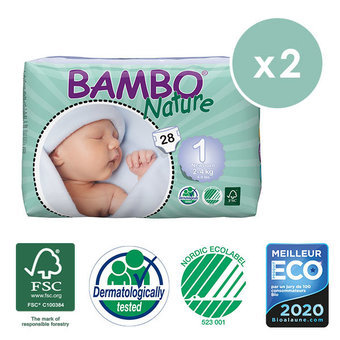 Bambo Nature 2x28 Couches Taille 1 (2-4kg)