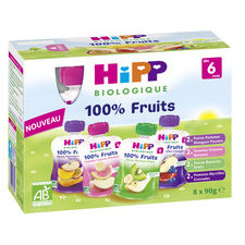 (dlc 29/03/21) HiPP Pack de 8 Gourdes Fruits dès 6m